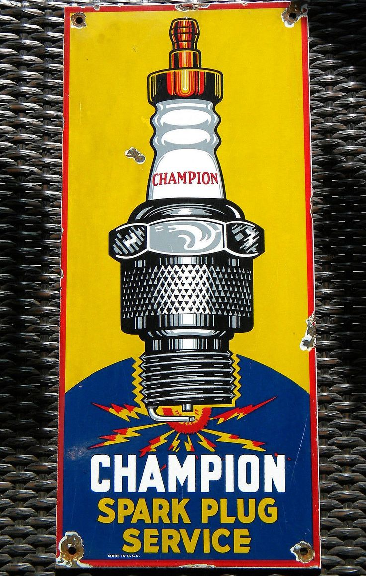 "Champion Spark Plugs Vintage Porcelain Sign (Old Antique Automobile Service Station Garage Enamel Advertising Sign, ""Spark Plug Service"")"