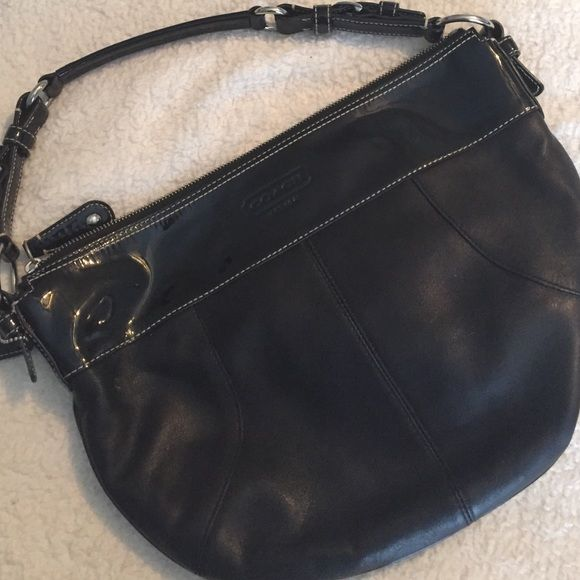 Authentic black coach purse Gorgeous leather with trim detail. Used only a few times. Great shape. N2C1026-F14886 Coach Bags