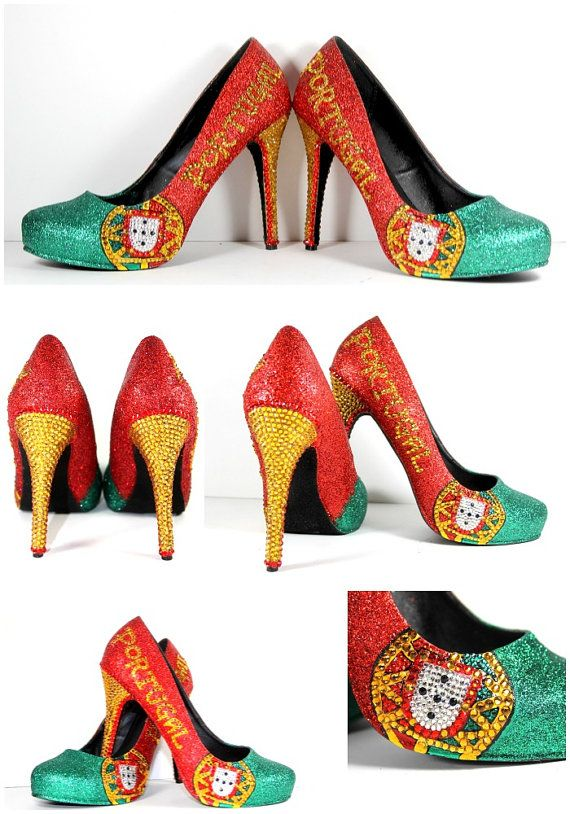 Portugal Flag Heels Glitter Heels with by WickedAddiction on Etsy
