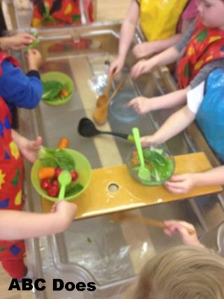 soup making in the water tray #abcdoes #eyfs #provocationsforlearning #talkmatters #continuousprovision