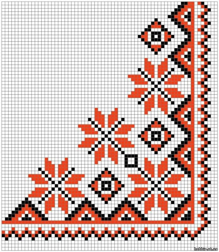 Орнаменты вышивки для салфеток