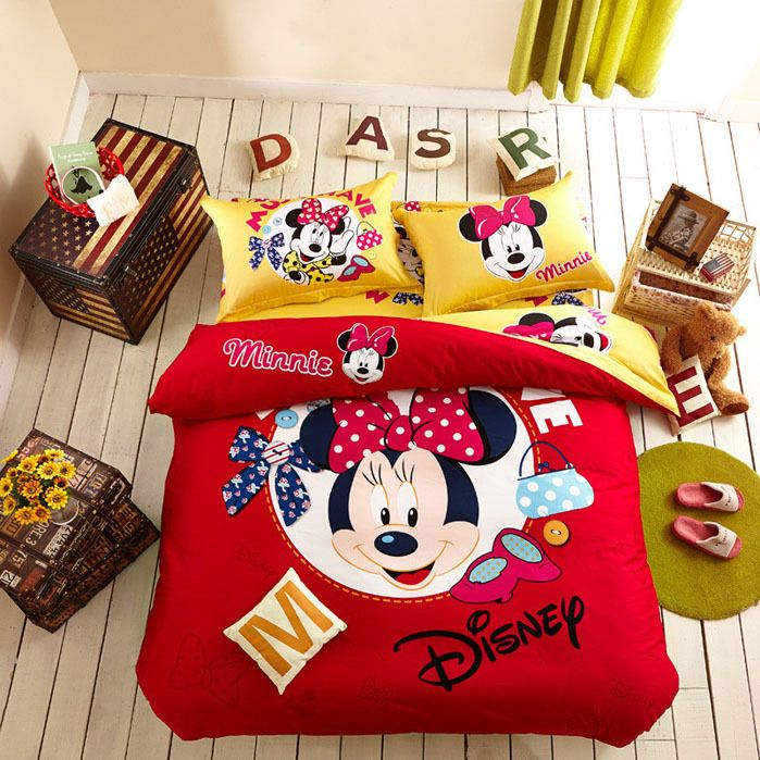 new Mickey Mouse 4pcs Bedding Sets Queen bed Sheet set Bed linen Bedclothes Duvet Cover minnie mouse bedding sets Free Shipping-in Bedding Sets from Home & Garden on Aliexpress.com | Alibaba Group