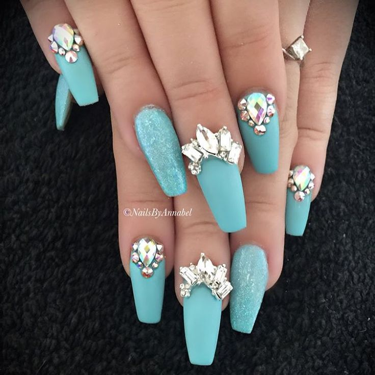 Matte blue nails with gems - Best 25+ Tiffany Blue Nails Ideas On Pinterest Tiffany Nails