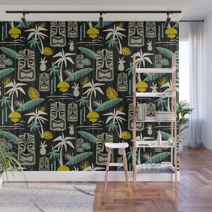 With Our Wall Murals You Can Cover An Entire Wall With A Rad Design Just Line Up The Panels And Stick T Black Walls Mid Century Modern Wallpaper Wall Murals