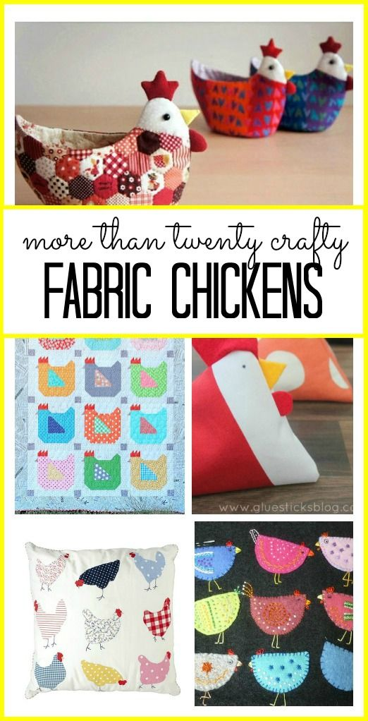 TONS of ideas for FABRIC CHICKEN crafts - each idea is so fun, love love love these diy options! - - Sugar Bee Crafts