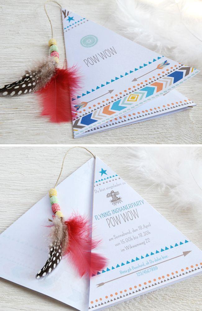 Ideen Für Eine Indianerparty Zum Kindergeburtstag. Einladungskarten ...