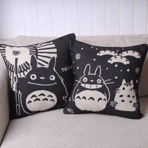 #stylish Pair of Black #Totoro Series Print Decorative Pillow Covers 45CMx45CM Linen Throw Pillow Covers Sofa Cushions