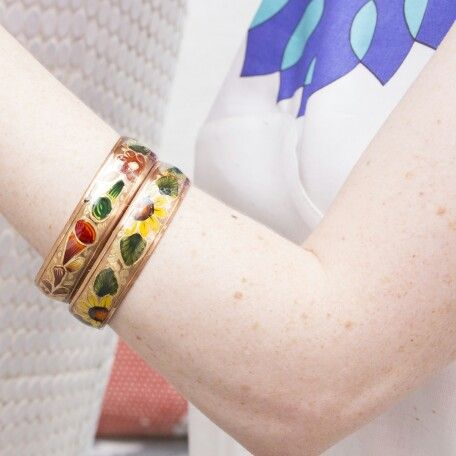 Sunflower and earth flower hand painted bangles.