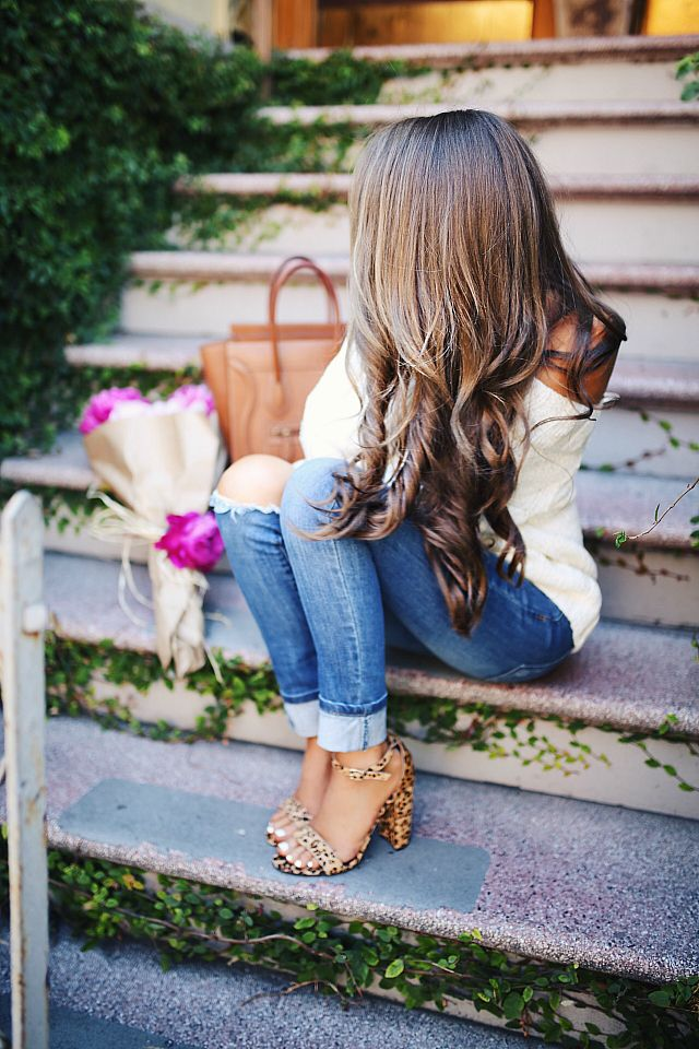 off shoulder sweater , also  here  // Charlotte Russe jeans (sold out), similar  HERE   leopard heels , more colors  HERE  //...