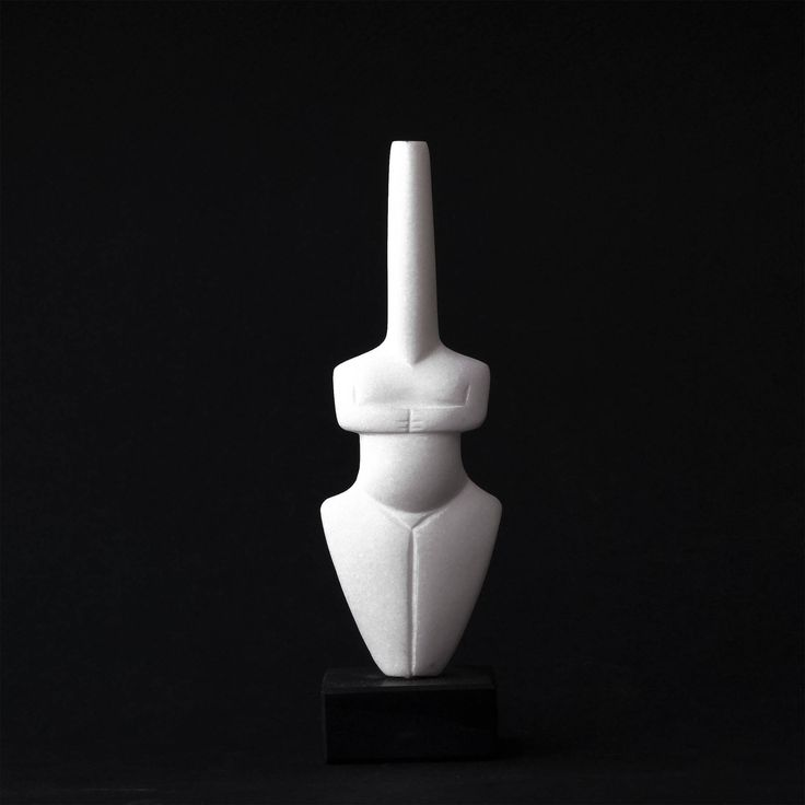White Marble Sculpture, Abstract Female Greek Cycladic Figurine Statue, Minimalist Home Decor