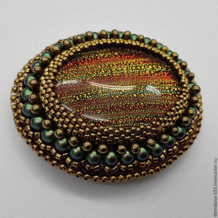 """Купить Брошь """"Африканский закат"""" ювелирное украшение из бисера Ручная работа - коричневый, золотой, зеленый"""