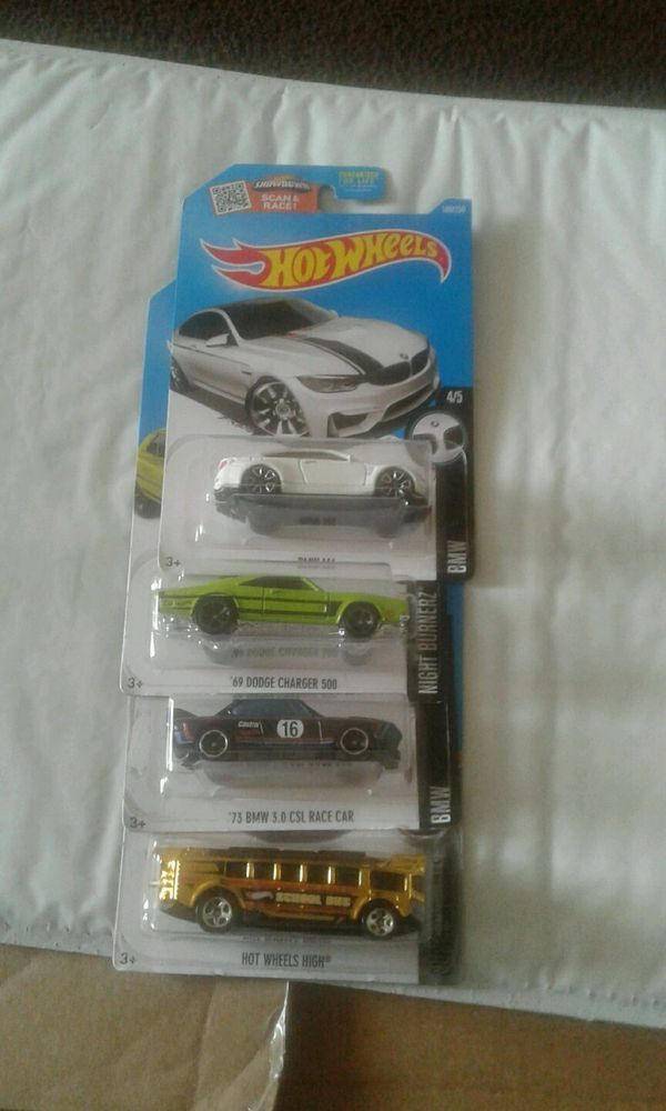 Hot Wheels Lot: HW High Bus 73 BMW 3.0 CSL racecar, 69 Dodge Charger 500, BMW M4 #Mattel #BMW