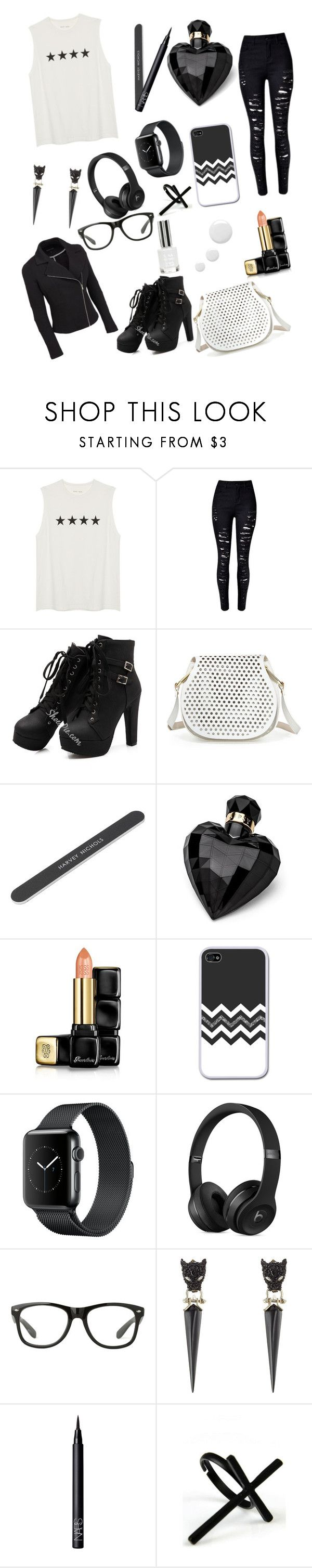 """""""Black and White"""" by kaykay42005 ❤ liked on Polyvore featuring Cynthia Rowley, Lipsy, Guerlain, Alexis Bittar, NARS Cosmetics, Emi Jewellery and plus size clothing"""