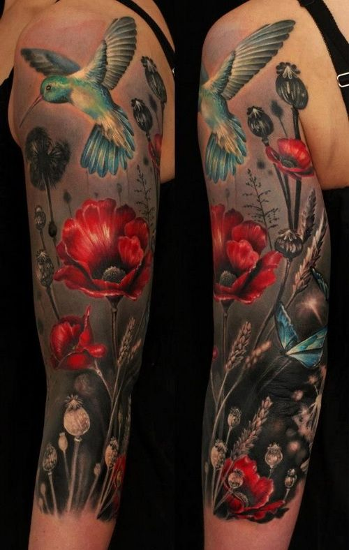 Red Flower and Bird Tattoo Designs on Sleeve