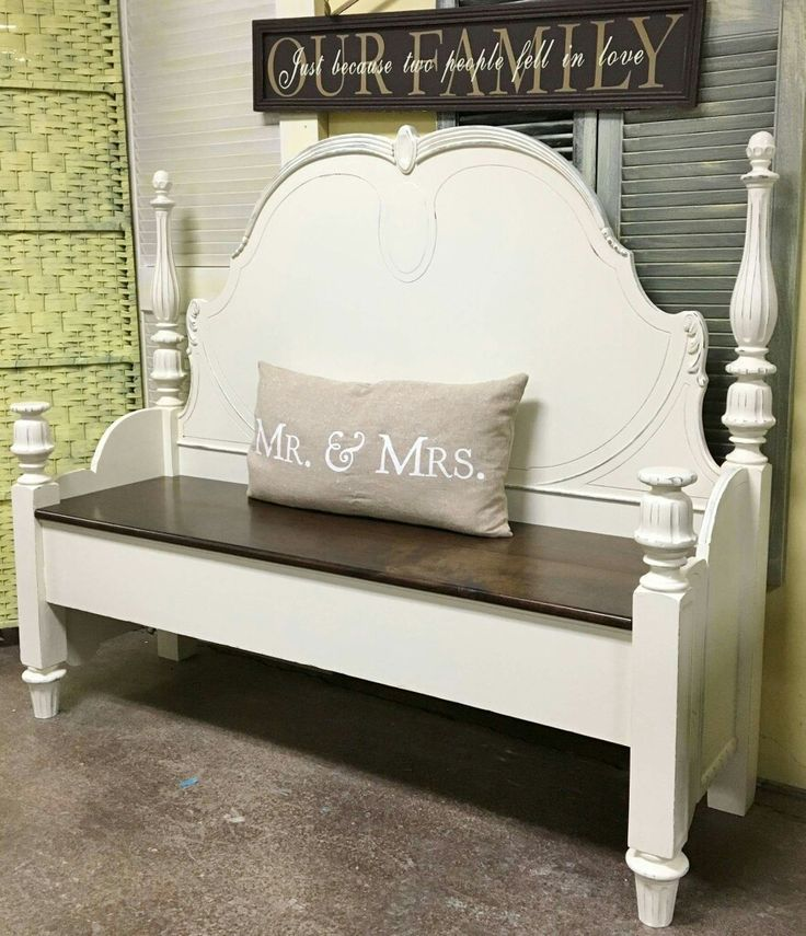 Repurposed headboard made into bench