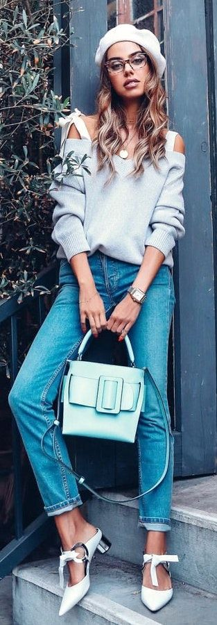 gray off-shoulder shirt. #SpringOutfits #SpringDress #outfit2018 #Spring #Outfit #women