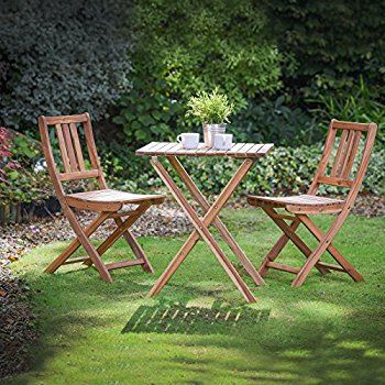 VonHaus Wooden Table and Chair Set - Traditional Folding Garden & Patio Dining Furniture Set (70 x 70cm): Amazon.co.uk: Garden & Outdoors
