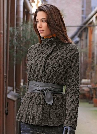 GORGEOUS!  I need to make this but I don't know if I would have a problem with all those cables! 582 - Jacket - Créations 12/13