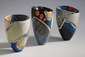 Carolyn Genders' vessels are informed by the seasonal changes in the landscape ... (from a show at Contemporary Ceramics Center, London)