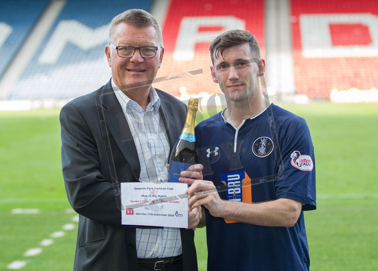 Queen's Park's John Carter picks up the man of the match award after the Ladbrokes League One game between Queen's Park and Alloa Athletic.