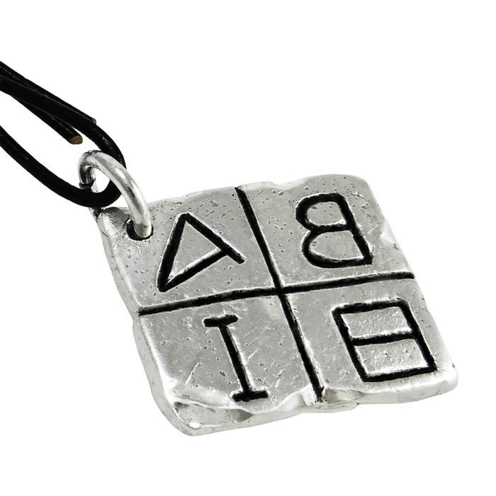 From the letters of local variants of the Greek alphabetic script, we created a unique key-ring attached with black leather on the ring. The greek alphabetic script is a left writing system, dating to 8th - 7th century B.C. Ancient Greece Dimensions: 3 cm x3 cm x 3 mm Dimensions of the key-ring: 3 cm x 11,5 cm x 3 mm Silver-plated Bronze