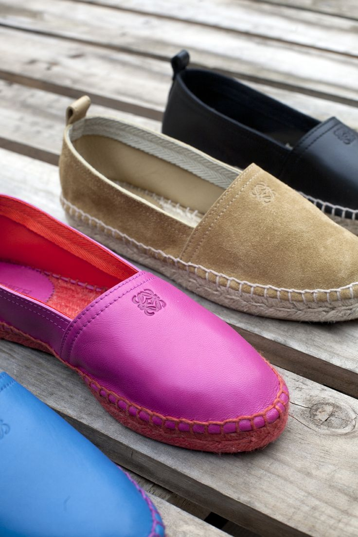 LOVE!   The Loewe espadrille comes in seven different shades for women and four for men. It is available in nappa, ostrich and in Loewe's hallmark 'Oro' (gold) suede.