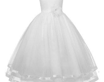 Witte Lace bloemenmeisje jurk met hart uitsparing door DianasBridal