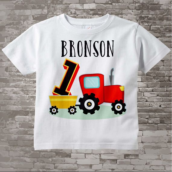 First Birthday Red Farm Tractor Shirt or Onesie Personalized