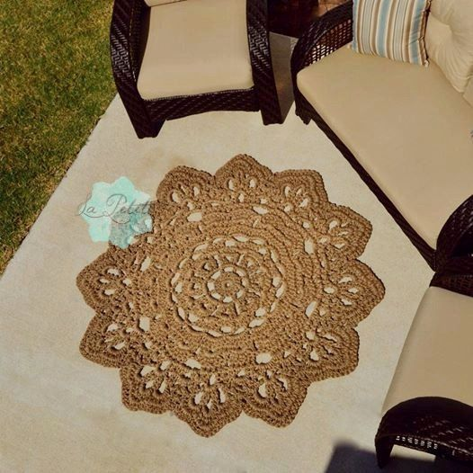 """Super Chunky Large Jute Handmade Crochet Flower Doily Rug/ home decor 59"""", Throw Rug, Kitchen Mat, Cottage Chic, Shabby, Rustic, Outdoor Rug"""