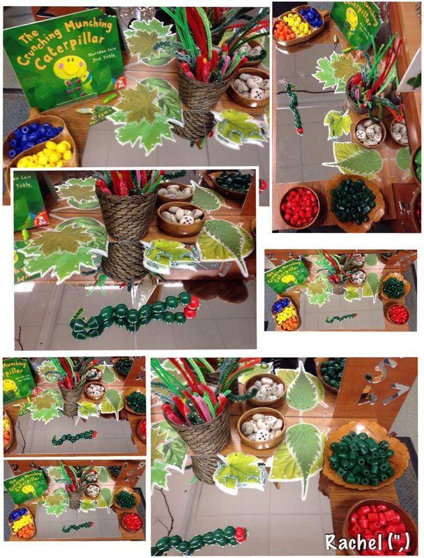 BooK: Crunching Munching Caterpillars; activity: Threading caterpillars fine motor center