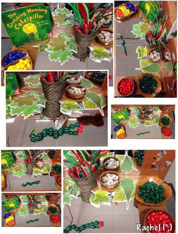 "Threading caterpillars... from Rachel ("",)"