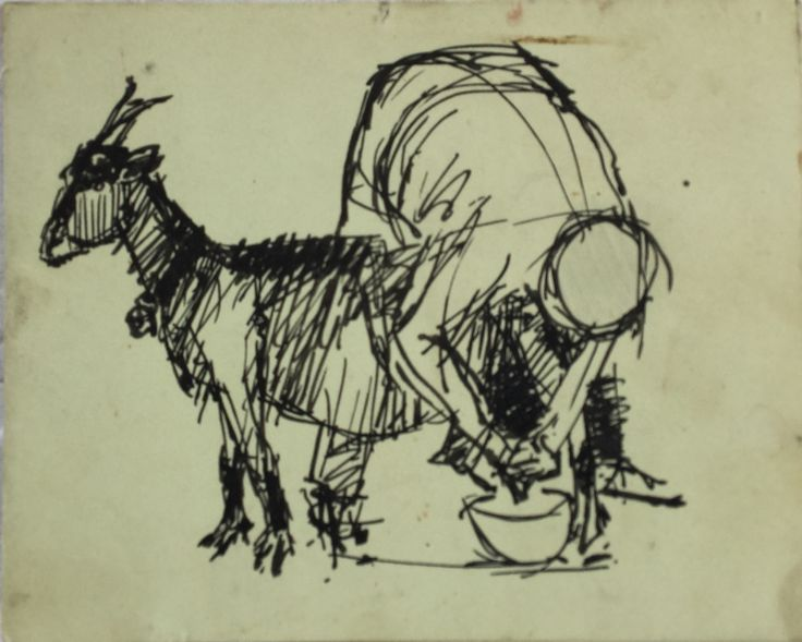 "Paul Stoltze ""Milking the Goat "" Drawing (Pharyah)"