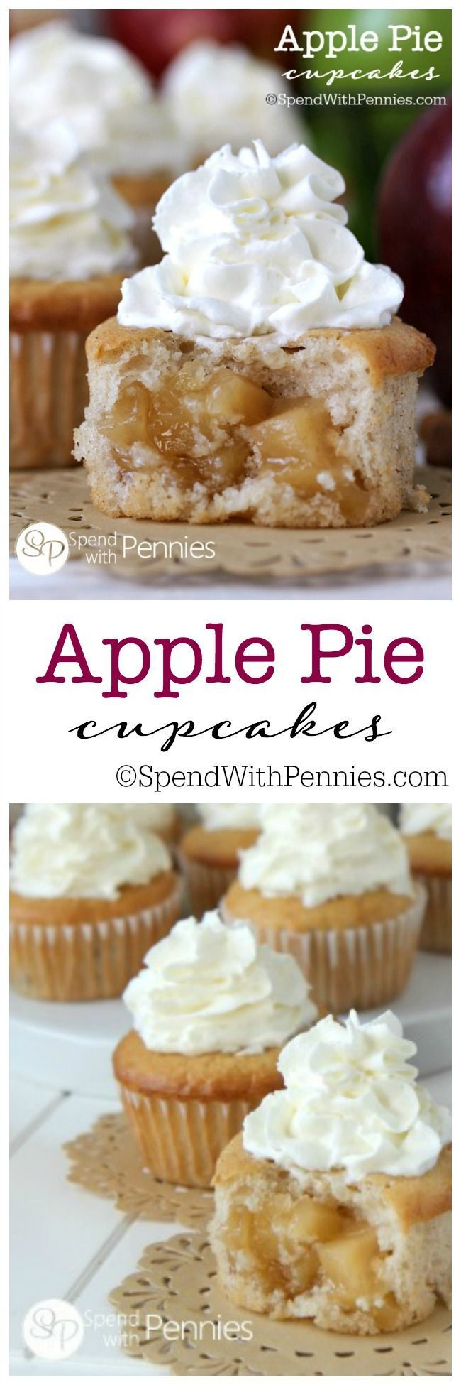 Apple Pie Cupcakes!! Our favorite cupcakes ever! Soft fluffy cinnamon cupcakes with a surprise apple pie filling in the center! These are SO easy to make!)