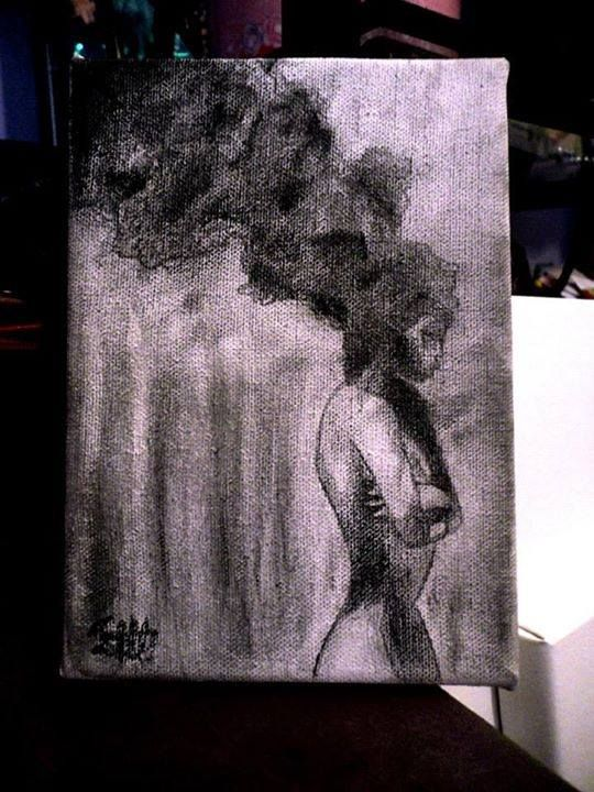 Another Pencil Art Black and White Girl Smoke