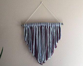 Driftwood Macrame Wall Hanging - Boho Decor Bohemian Tapestry Fabric Coastal Wall Art Nursery Kids Room purple silver grey Girl Chic
