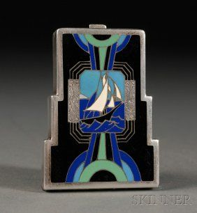 Art Deco Enameled Silver Compact, c. 1930, of stepped outline, with scene of a sea bound ship flanked by multicolored lunettes all on a black ground.