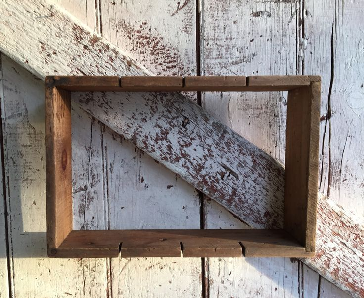 Rustic shelf wood box frame primitive shelf wood frame box vintage wood shelf by LititzCarriageHouse on Etsy