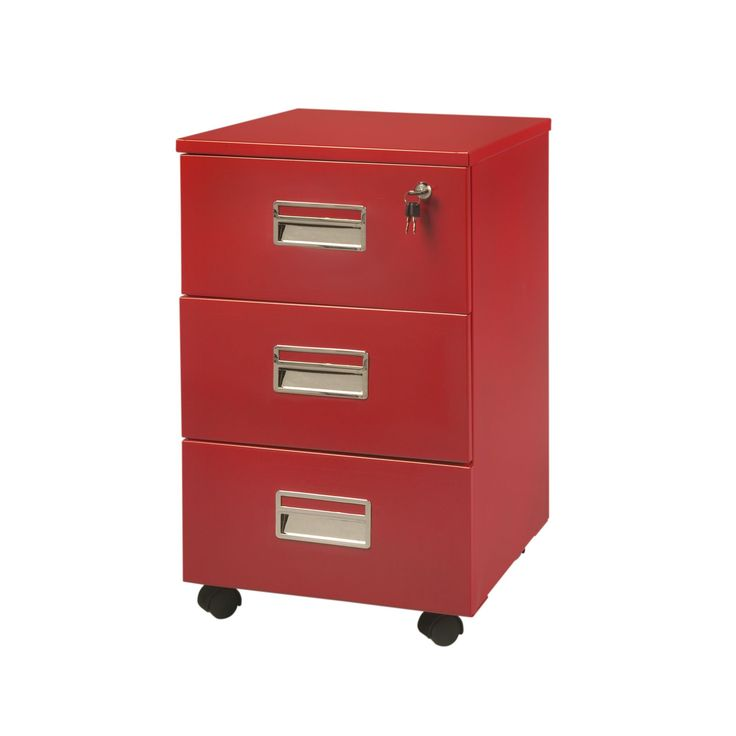 caisson 3 tiroirs sur roulettes rouge max bureau les caissons les rangements bureau. Black Bedroom Furniture Sets. Home Design Ideas