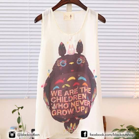 We are the children who never grow up #totoro #totoros #ghiblistudio #tee #instatee #miyazaki #myneighbortotoro #mivecinototoro #blackoutbcn #blackout #camiseta #girl #cute #japon #japan #ootd #tagsforlikes #shoppingbarcelona #barcelona #totorofans #hayaomiyazaki #love #cute