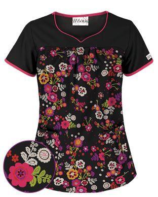 UA Fiesta Flowers Black Scrub Top Style # UA746FIF #uniformadvantage #uascrubs #adayinscrubs #scrubs #printscrubs #flowers #flowerscrubs