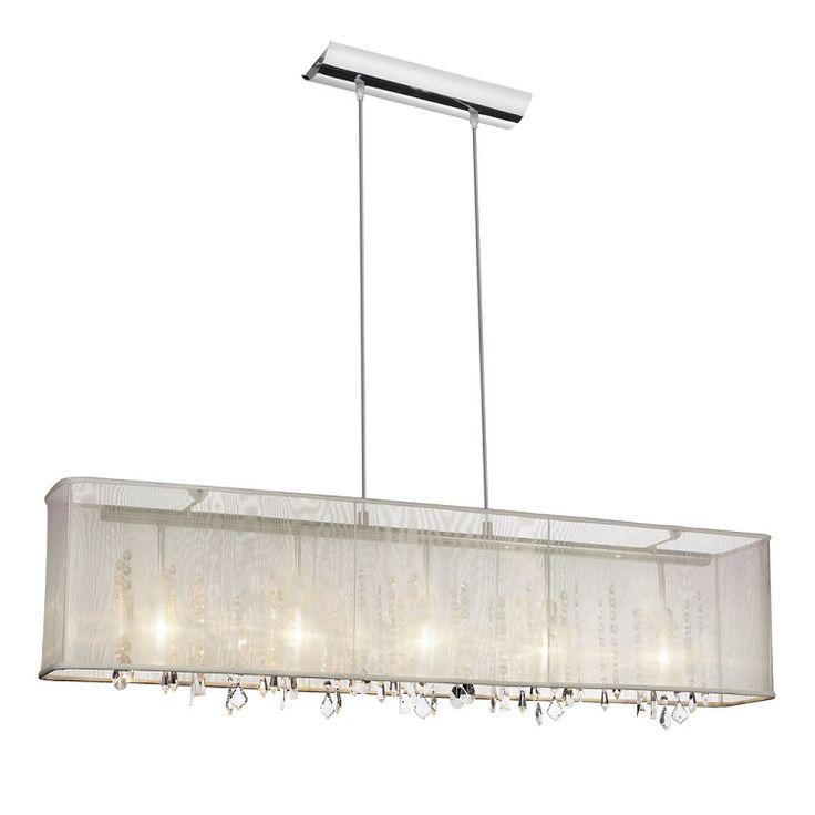 "Shaded Light Design 5-Light 44"" Chrome Crystal Linear Chandelier Pendant with an Organza Shade SKU# 10581 585"