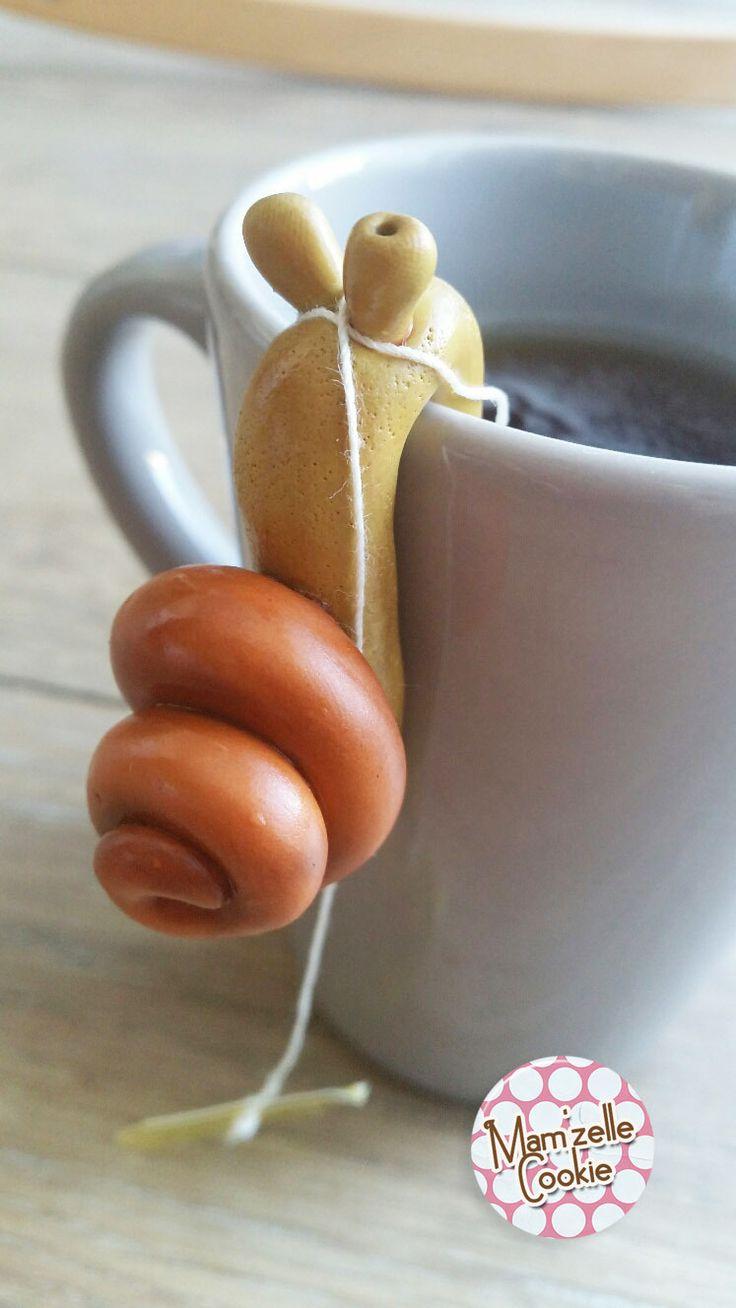 Léo l'escargot - Porte sachet de thé modelé à la main, élévé en captivité…