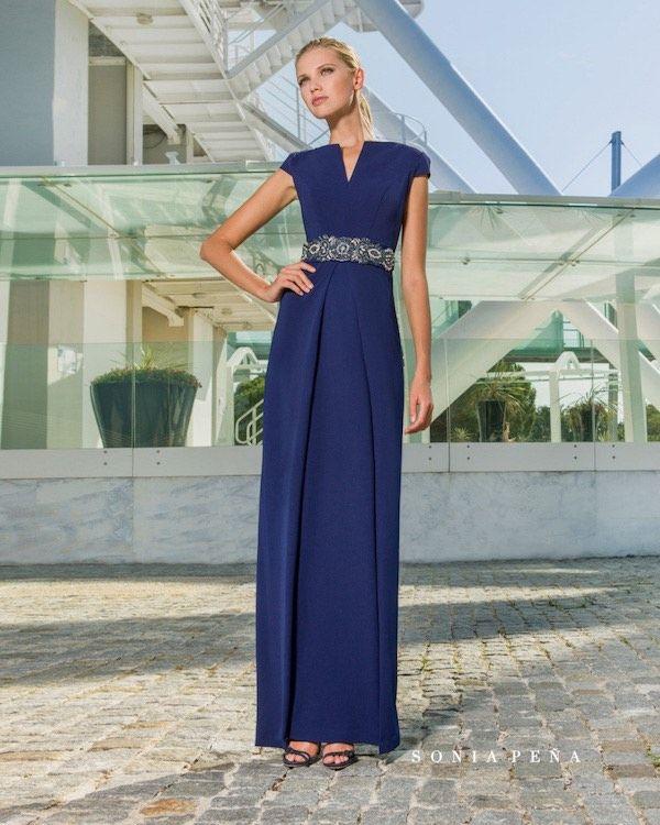 3979120e72 Vestidos de fiesta Sonia Peña 2018 azul oscuro largo