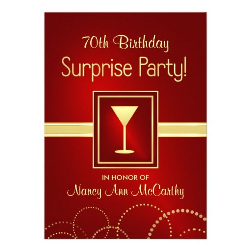 70th Birthday Surprise Party Champagne Invites | Best ...