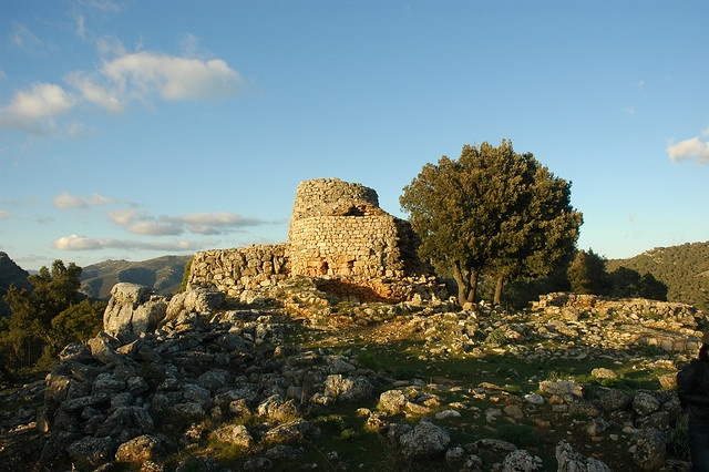 Nuraghe (20th-2nd century B.C.) Nobody knows for what purpose these misteryous megalithic towers were built, if they were fortresses, astronomical structures for worship or both. -- Nuraghe Serbissi near Osini, Sardinia, Italy.