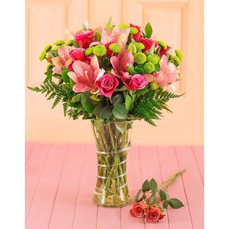 Pink Lilies & Roses in a Vase...