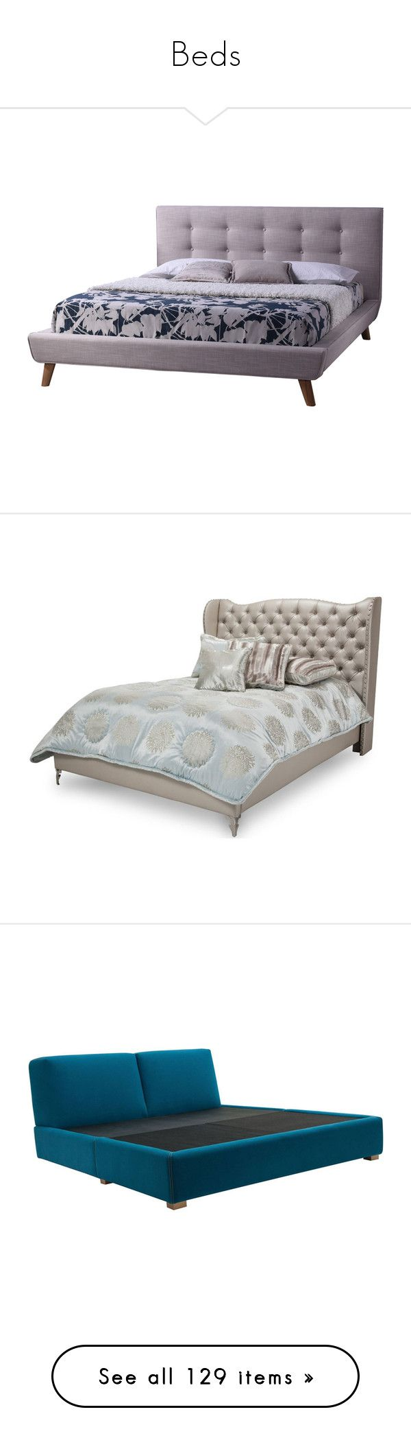 """""""Beds"""" by kat-whitethorn ❤ liked on Polyvore featuring home, furniture, beds, upholstered beds, baxton studio bed, modern bed platform, fabric beds, fabric furniture, california king bed platform and hollywood bed"""