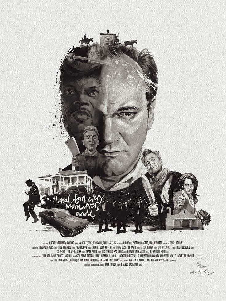 Quentin Tarantino, part of a series cinema posters by Stellavie & Julian Rentzsch
