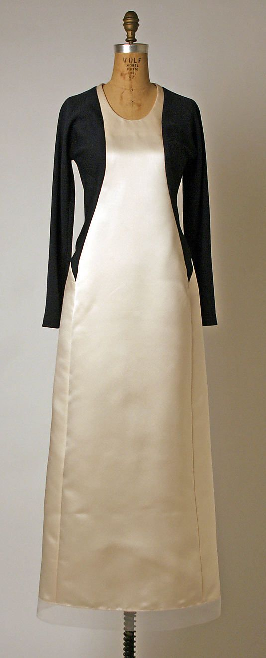 Ivory silk satin and black wool evening dress (front), by Geoffrey Beene, American, fall/winter 1995-96.