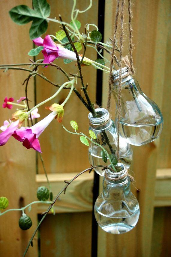 3 Glass Light Bulb Flower Vase Stem holder by PineknobsAndCrickets